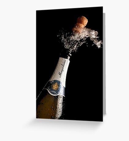 Celebration Theme With Splashing Champagne Greeting Card