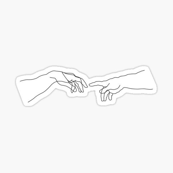 Creation of Adam minimal drawing Sticker