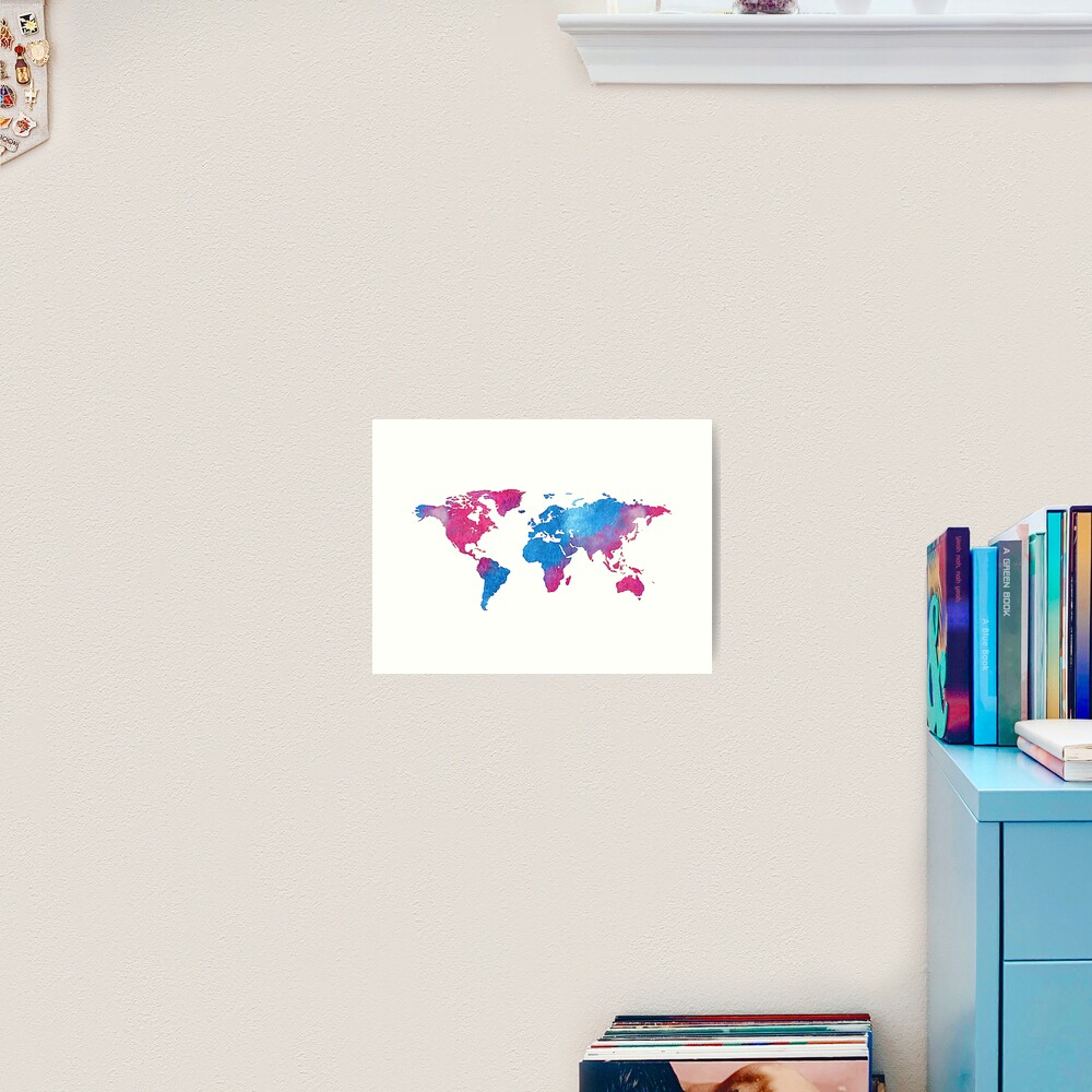 Watercolor World Map Blue And Pink Vintage Wall Art Decor