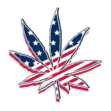 Marijuana Leaf Legalization America USA Flag by CroDesign