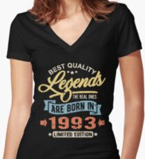 Legends are born in 1993 Women's Fitted V-Neck T-Shirt
