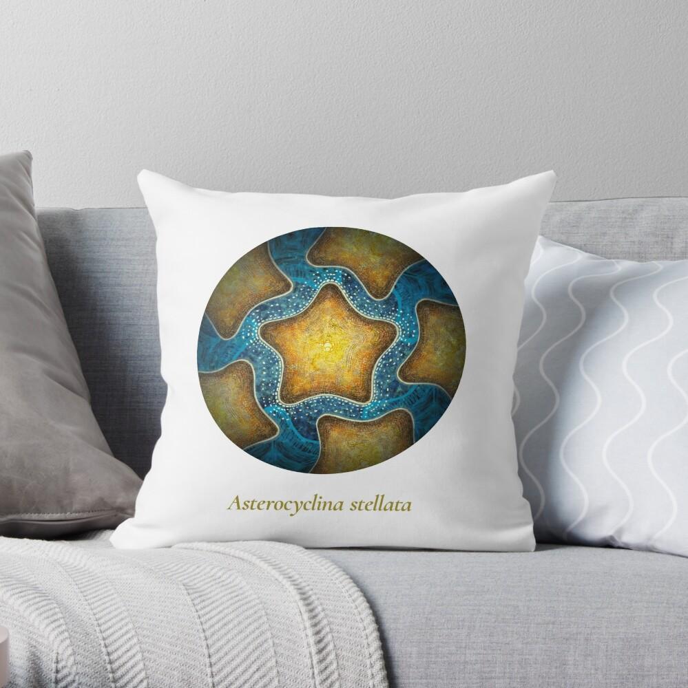 The Circles of Life: Asterocyclina stellata Throw Pillow