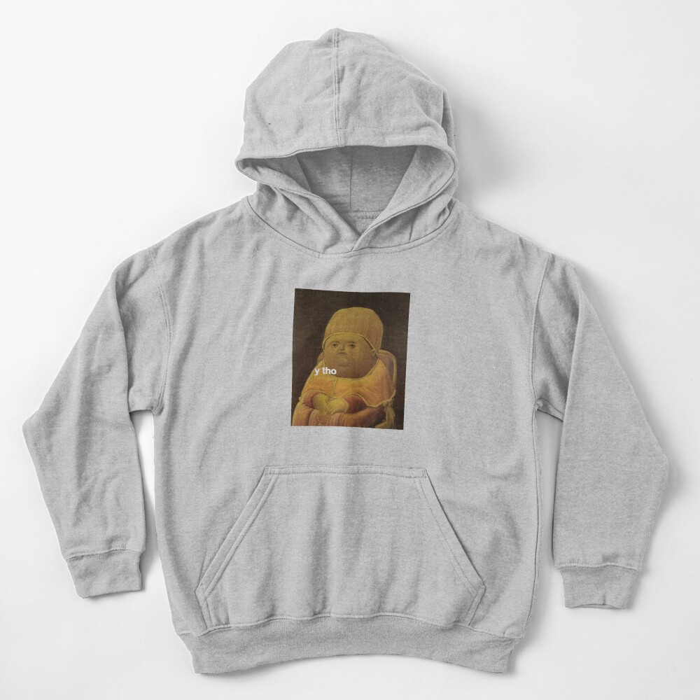 y tho memes medieval pope baby parody painting HD HIGH QUALITY ONLINE STORE Kids Pullover Hoodie