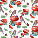 Robins with Autumn Toadstools, fall leaves and berries by MagentaRose