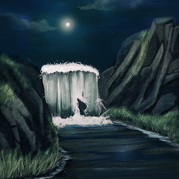 Moonlit Waterfall by question