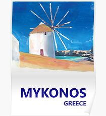 Mykonos Greece Windmill, Sea and Little Venice Travel Retro Poster Poster