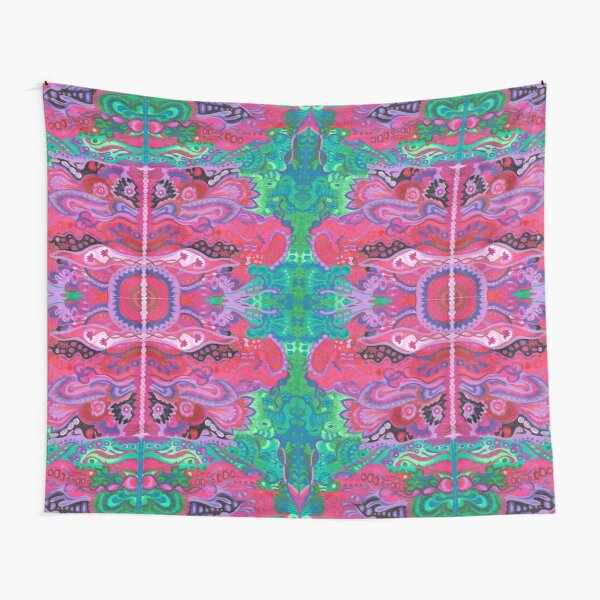 Inner garden boho style abstract floral cyclamen green Tapestry