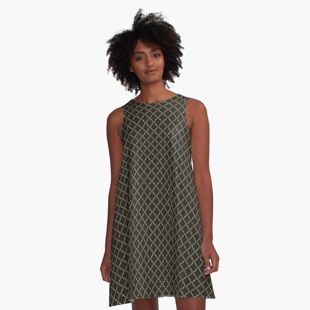 Black and Gold 2   Sweet Tea Quatrefoil Dress A-Line Dress Front