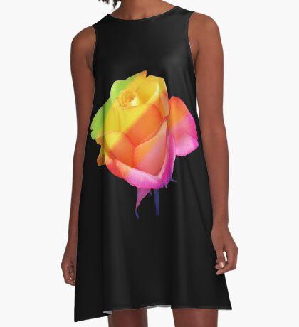 wunderschöne, bunte Rose, Rosen, Blume, Regenbogen A-Linien Kleid