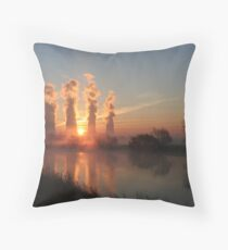 Ratcliffe Power Station at sunrise Throw Pillow
