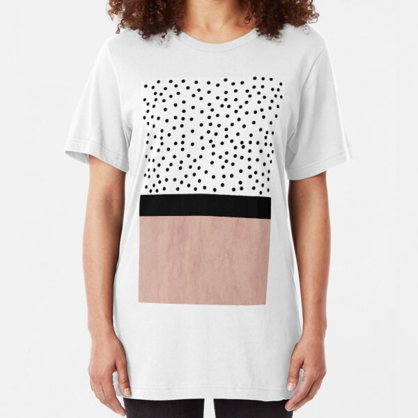 Pink marble and dots Slim Fit T-Shirt