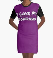I Love My 'Chocolate More Than My' Boyfriend Graphic T-Shirt Dress