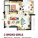 Floorplan of the apartment from 2 BROKE GIRLS by Iñaki Aliste Lizarralde