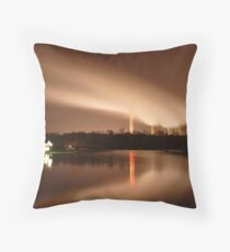 Ratcliffe Power Station by night Throw Pillow