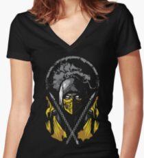 Mortal Kombat - Scorpion Women's Fitted V-Neck T-Shirt