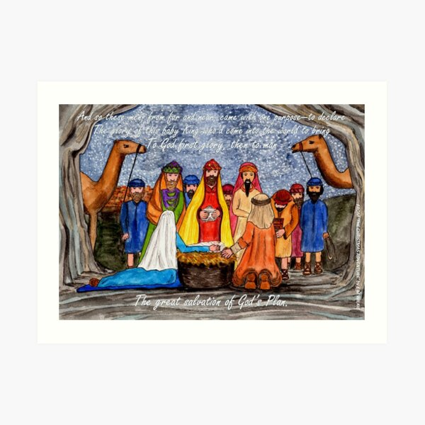 Worship the King - Christmas Nativity Scene with wording Art Print