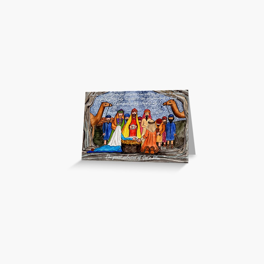 Worship the King - Christmas Nativity Scene with wording Greeting Card