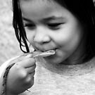 poor beautiful little girl in black and white by momarch