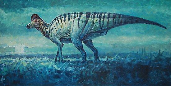 Prairie Moon - Corythosaurus by Angie Rodrigues