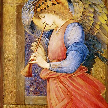 Angel Gabriel Blowing His Horn Antique Religious art by Glimmersmith