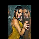 """Erotic Fashion Art Photography Poster Print - """"Reflection - Beautiful Girl Wet in Shower Wearing Clothes """" Featuring a Hot Sexy Brunette Model - Tshirts - Mugs - Phone Cases and More. by Nico Simon Princely"""