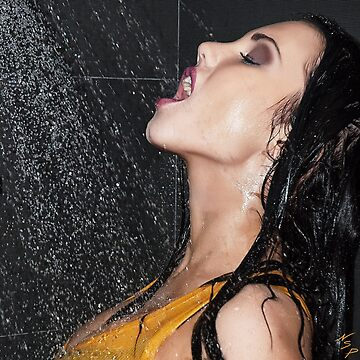 """Erotic Fashion Art Photography Poster Print - """"Getting Wet """" Featuring a Hot Sexy Brunette Model - Tshirts - Mugs - Phone Cases and More.  by NSPARTS"""