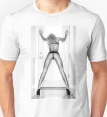"Fine Erotic Art Photography - Female Erotic Art - ""Assume The Position - Modern Pinup"" Featuring a Hot Sexy Blonde Bikini Model - Perfect Ass - Great Ass - Nice Ass Slim Fit T-Shirt"