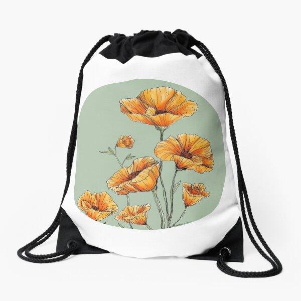 California Poppies Drawstring Bag