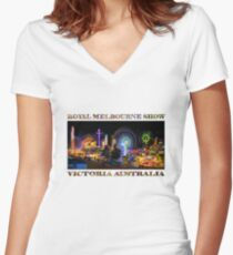 Fairground Attraction (poster on white) Women's Fitted V-Neck T-Shirt