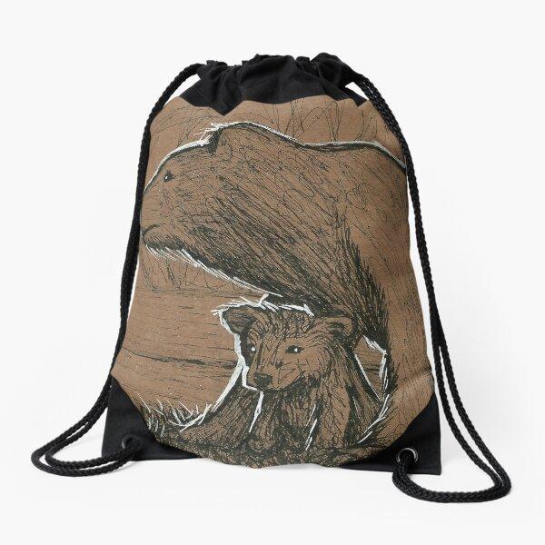 Bear and Cub Drawstring Bag