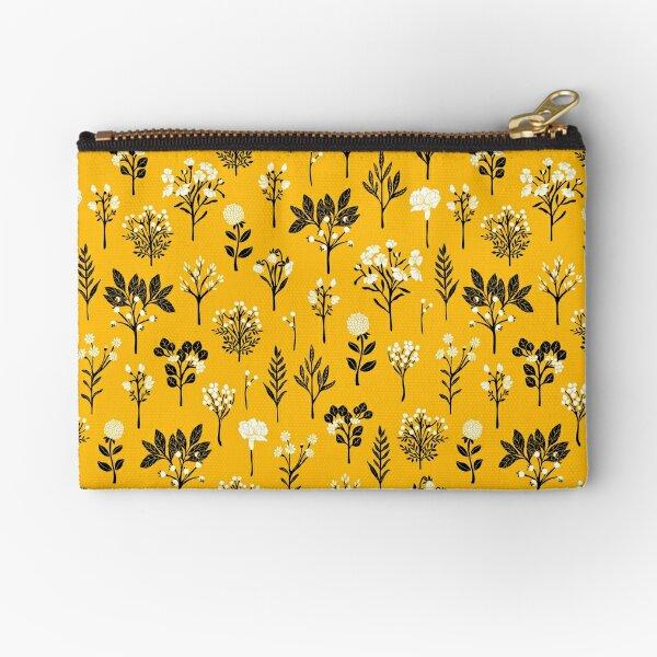 Mustard Yellow, Black & White Floral/Botanical Pattern Zipper Pouch