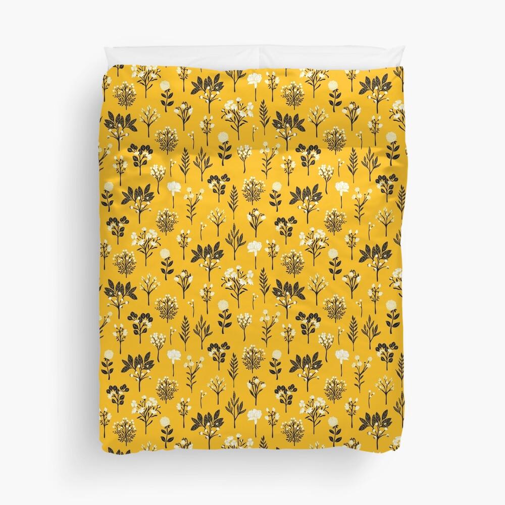 Mustard Yellow, Black & White Floral/Botanical Pattern Duvet Cover