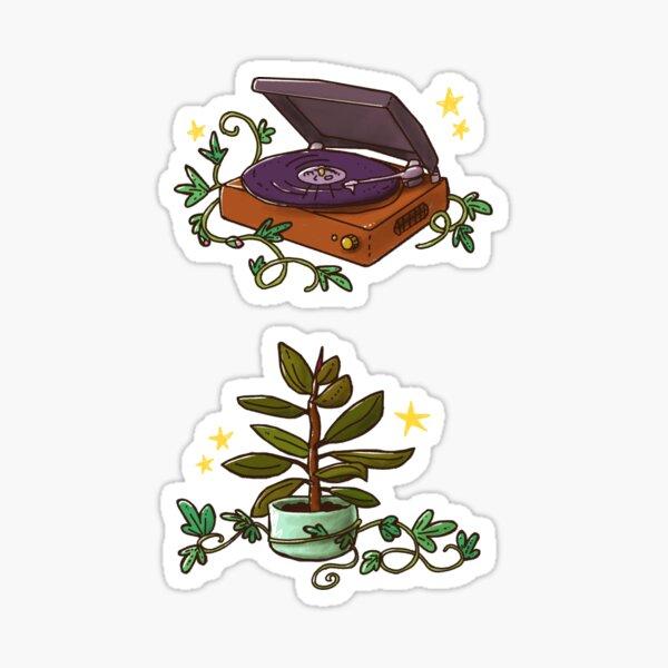 """Jeu d'autocollants de décoration de maison Jungalow magique // Vintage tourne disque & plante d'intérieur (illustrations tirées de """"La maison qui voulait être un jardin"""") Sticker"""