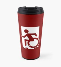 Emergency Exit Sign, with the Accessible Means of Egress Icon, part of the Accessible Exit Sign Project Travel Mug