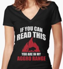 If you can read this you are in my aggro range Women's Fitted V-Neck T-Shirt