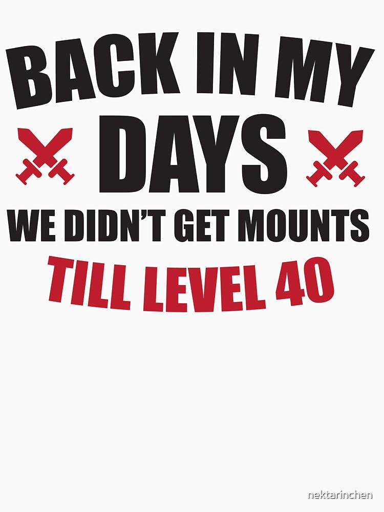 Back in my days we didn't get mounts till level 40 by nektarinchen