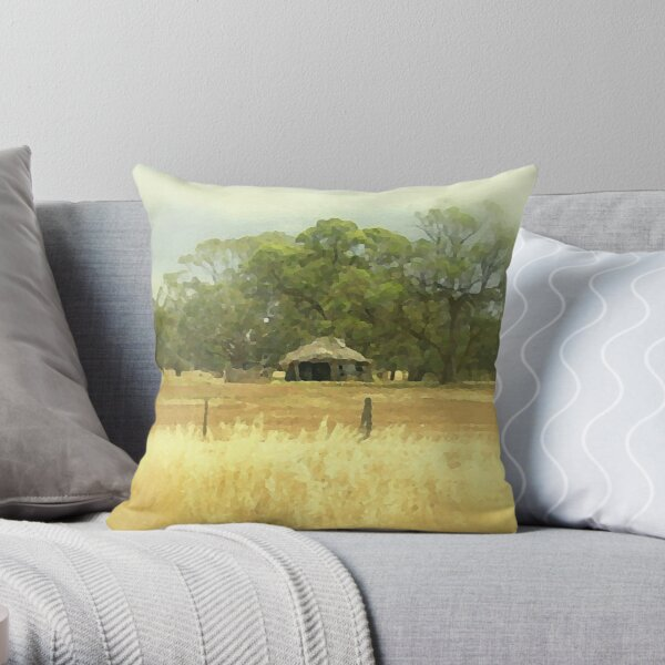Thatched roof Barn   Throw Pillow