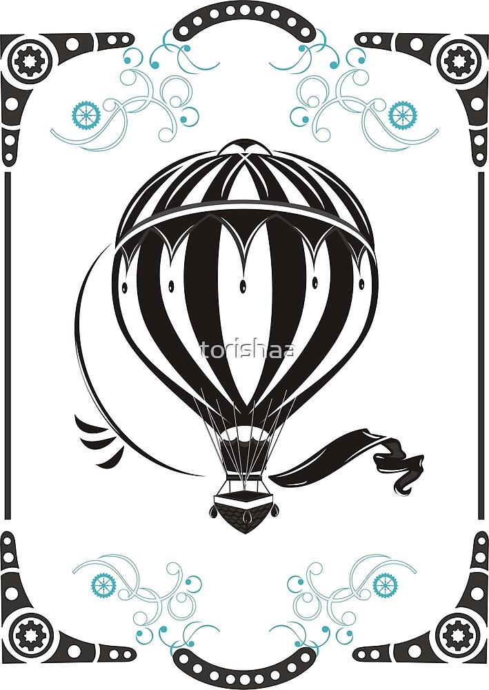vintage hot air balloon  by torishaa