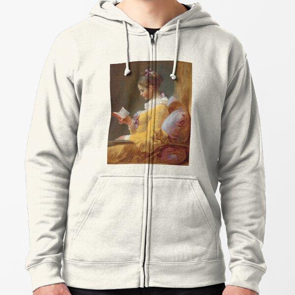 A Young Girl Reading - Jean-Honoré Fragonard Zipped Hoodie