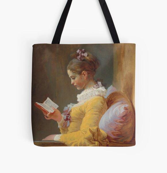 A Young Girl Reading - Jean-Honoré Fragonard All Over Print Tote Bag