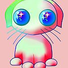 Adorable Kawaii Puppy dog in green and pink by M-Lorentsson