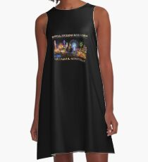 Fairground Attraction (poster on black) A-Line Dress