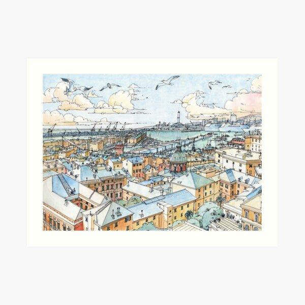 Panoramic of Genoa Art Print