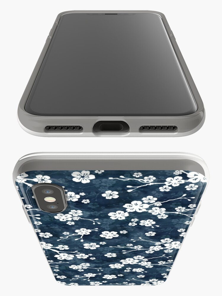 Alternate view of Navy and white cherry blossom pattern iPhone Case & Cover