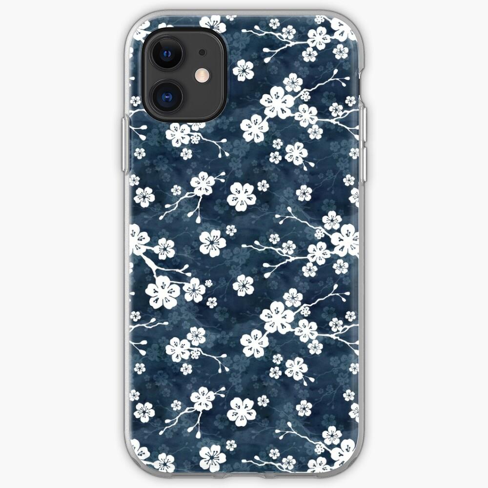 Patrón de flor de cerezo azul marino y blanco Funda y vinilo para iPhone