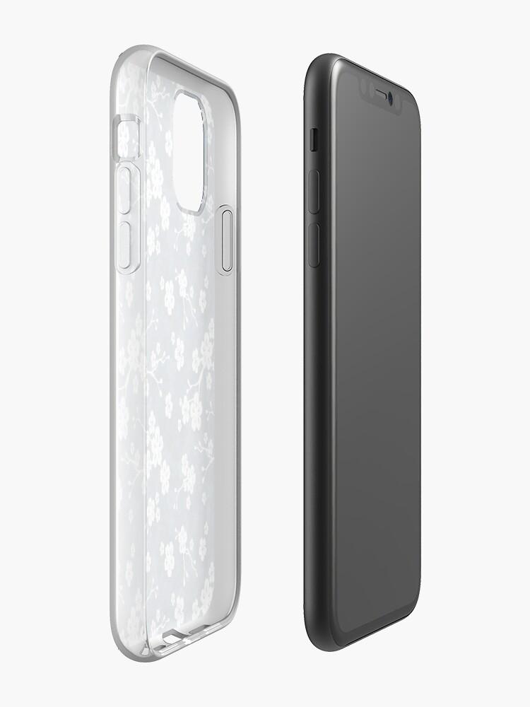 Vista alternativa de Funda y vinilo para iPhone Patrón de flor de cerezo azul marino y blanco