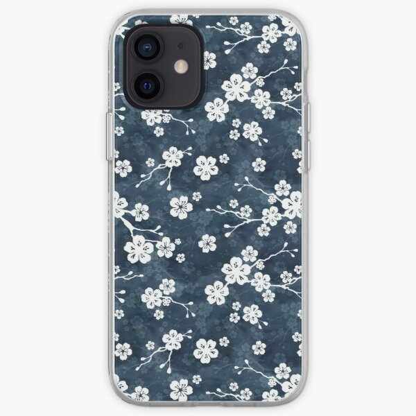 Navy and white cherry blossom pattern iPhone Soft Case