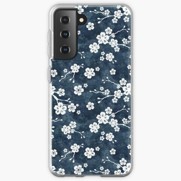 Navy and white cherry blossom pattern Samsung Galaxy Soft Case