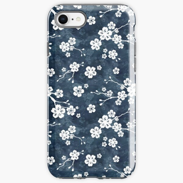 Navy and white cherry blossom pattern iPhone Tough Case