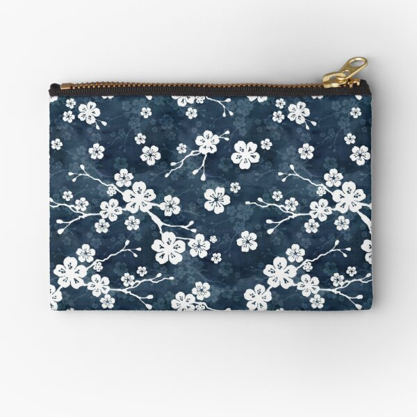 Navy and white cherry blossom pattern Zipper Pouch